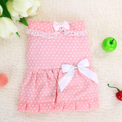 Pet Dog Dress Skirt Apparel Clothes w/ Dots – Pink, My Pet Supplies