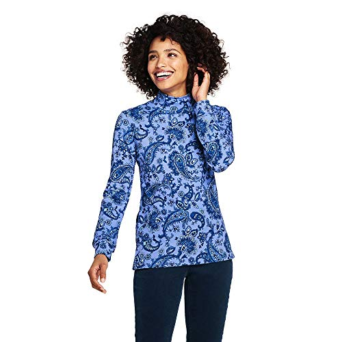 Turtleneck Interlock Ladies Mock (Lands' End Women's Relaxed Cotton Mock Turtleneck, S, Fresh Blue Paisley)