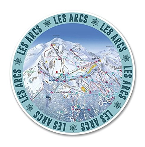 3 Pack - Les Arcs Ski Snowboard Resort WINDOW CLING STICKER Car Van Campervan Glass - Sticker Graphic - Construction Toolbox, Hardhat, Lunchbox, Helmet, Mechanic, Luggage (Arc Ski)