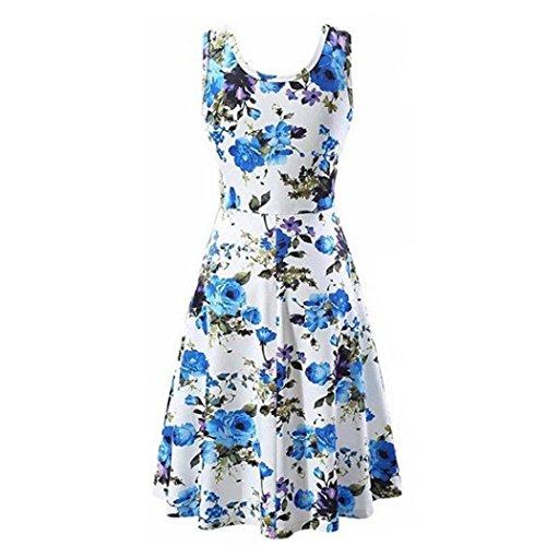 Boda La Vestir Vestido Floral Falda Impresión Largo Mini Vestido Camiseta Vestido Moda Fiesta Delgado Tanque JYC Larga Cuello Elegante Encaje Mujer De Azul Verano O Casual wASXHqfZ