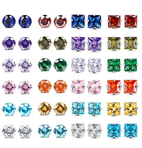 Adramata Stainless Steel Womens CZ Stud Earings Set Piercing 4mm