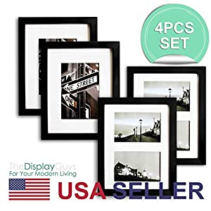 """The Display Guys~ 4 Sets 8x10 inch Matte Black Solid Pine Wood Photo Frame, Real Glass, Luxury Made Affordable, With White Core Mat Boards for 5""""x7"""" Picture + Collage Mat Board for 2-4""""x6"""" Picture"""