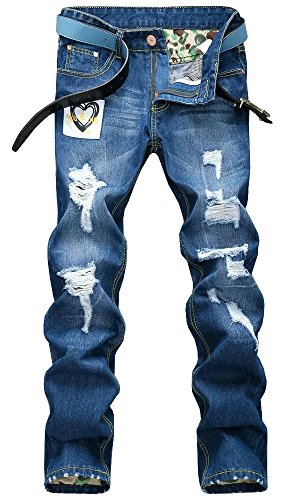Jiaka Men's Jeans Torn Jeans Frayed Patched Holey Washed Words Straight Leg Fitted