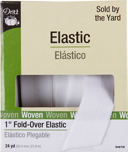 Dritz 9487W Fold-Over Woven Elastic, 1-Inch by 24-Yard, White ()