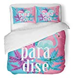 Emvency 3 Piece Duvet Cover Set Breathable Brushed Microfiber Fabric Watercolor Beach Flamingo and Exotic Plants Mirror Blue Paradise Bird Floral Bedding Set with 2 Pillow Covers Twin Size
