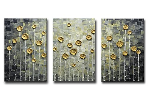 Asdam Art-Rose Gold Oil Paintings on Canvas 3D Hand Painted Modern Abstarct Art Large Floral Wall Art 16x24 inch 3 pics