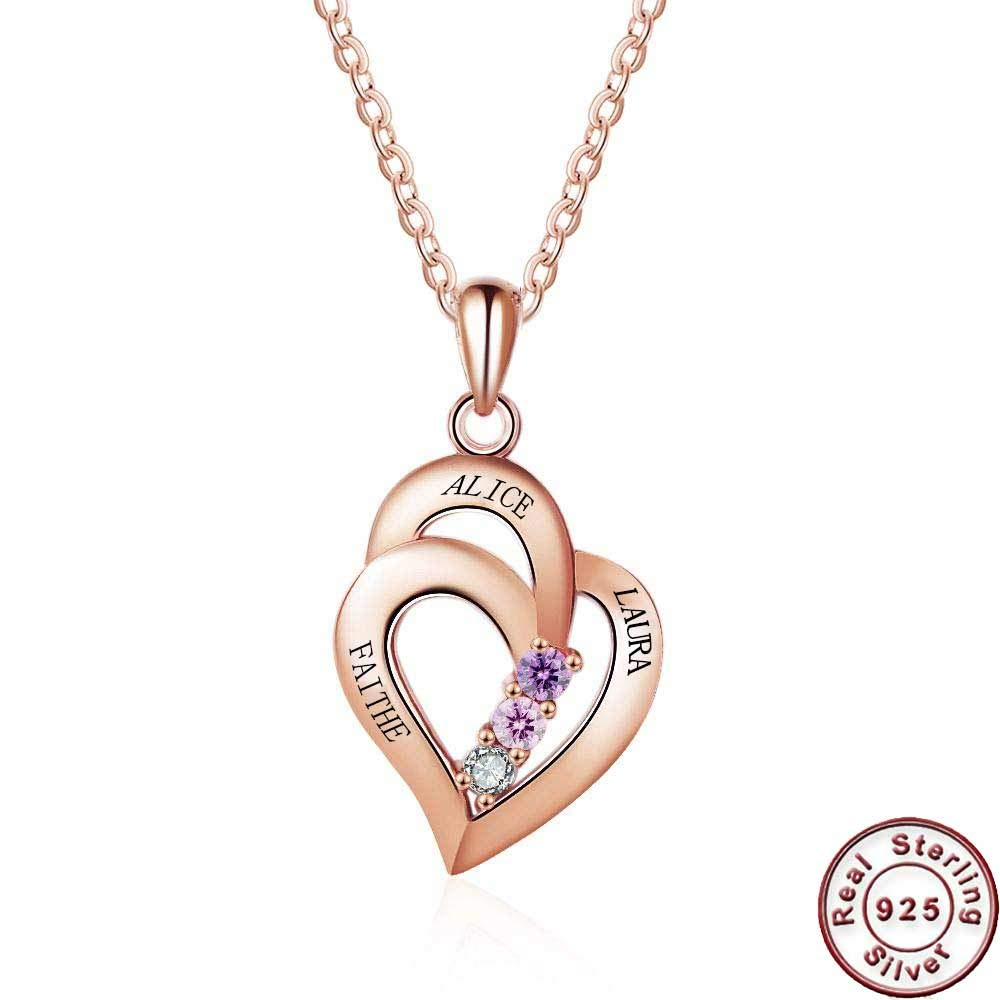 Gift for Women//Lover//Girls//Mother//Lady Free Engraved 3 Name on Pendant ZHUOZE 925 Sterling Silver Personalized Heart Names Necklace with 3 Simulated Birthstone Pendant Necklace