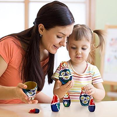 Nesting Dolls - Matryoshka Matrioskas Babushka Matruska Russian 7 Nesting Dolls for Kids - Matryoshka Russian Nesting Doll: Toys & Games