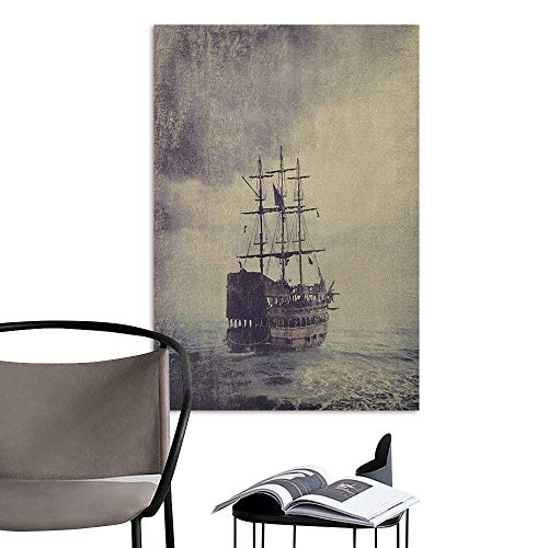 Wall Mural Wallpaper Stickers Nautical Old Pirate Ship in The Sea Historical Legend Cruise Retro Voyage Grunge Style Art Tan Plum Rental House Wall W20 x H28]()