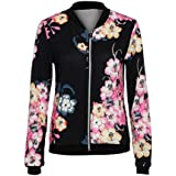 Morecome Womens Casual Print Cardigan Baseball Jacket