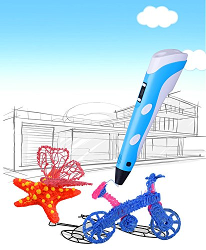 DOMO nScribe Build Star+ Plus 3D Doodling Printer Scribbler Pen with LCD for 1.75mm PLA and ABS - with Free Sample Filaments - Blue