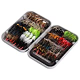 Bassdash Fly Fishing Flies Kit Fly Assortment Fly Box, 36/64/72/80/96pcs Dry/Wet Flies, Nymphs, Streamers, Popper