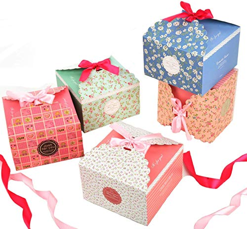 (Gift Boxes,Decorative Treats Boxes with Ribbon Goody Box,Candy Cookies Soap Wrap for Brithday Christmas Holiday Wedding -Set of 15)