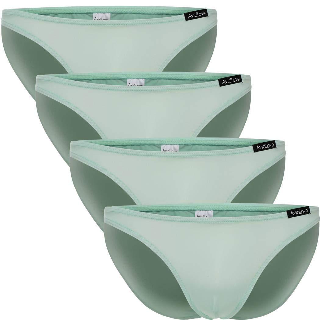 TALLA L. Scallop Calzoncillo Pack de 4 Slips básicos para Hombre Ropa Interior Triangle Elástico