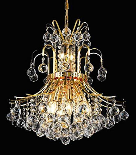 Elegant Lighting 8001D19G RC Royal Cut Clear Crystal Toureg 10-Light, Two-Tier Crystal Chandelier, 0 x 19 x 23 , Finished in Gold with Clear Crystals
