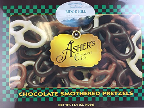 Chocolate Asher Pretzels (Asher's Chocolate Smothered Pretzels Dark Chocolate Milk Chocolate White Chocolate Assorted Chocolate Covered Pretzels Assortment 14.4 Ounce Gift Box)