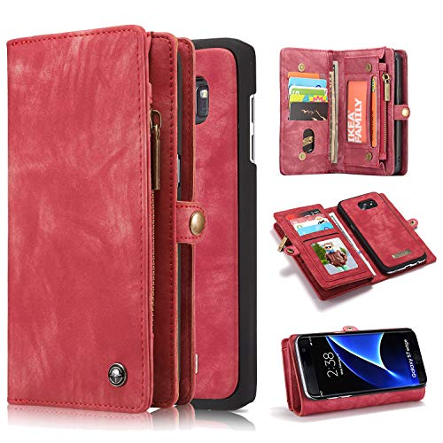 Pocket Pc Leather - Galaxy S7 Edge Case, Harsel 11 Card Slot [Magnetic Closure] Detachable Leather Wallet Purse Case with Zipper Pocket Removable Protective Hard PC Cover for Galaxy S7 Edge (Red)