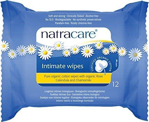 Natracare Organic Cotton Intimate Wipes - 3 Packs of 12 (Feminine Natracare Wipes)
