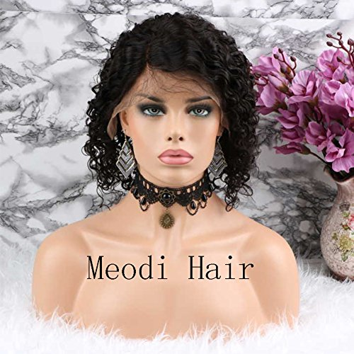 Meodi Hair Fashion Curly Lace Front Human Hair Wigs Glueless Brazilian Virgin Hair Natural Curly Lace Wig