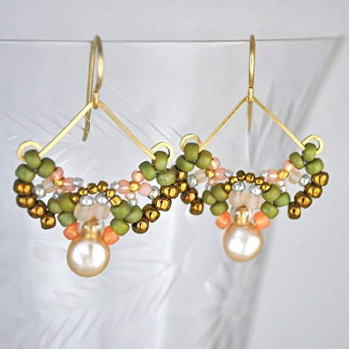 Cultured Freshwater Pearl Beaded Earrings, Artisan Crafted in 14K Gold Filled