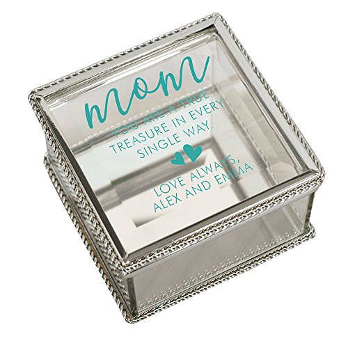 GiftsForYouNow Mom True and Treasured Personalized Jewelry Box, Blue