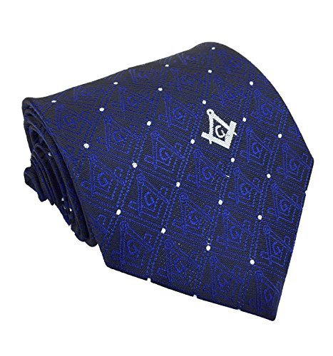 Navy NT027 Masonic Masons forget me not Tie with Square Compass /& G