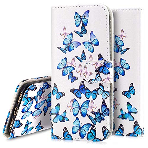 PHEZEN Case for Samsung Galaxy S10 Plus Wallet Case,Marble Design PU Leather Bookstyle Magnetic Stand Flip Folio Case Full Body Protective Phone Case Cover for Galaxy S10 Plus - Blue Butterfly