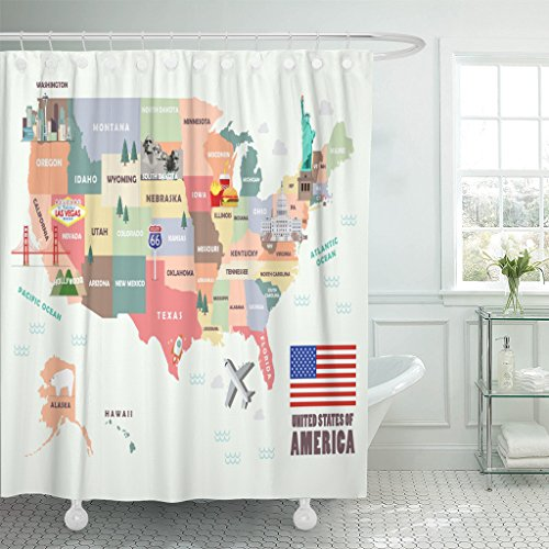 Emvency Shower Curtain Monument Map of The United States America Famous Attractions Waterproof Polyester Fabric 72 x 72 Inches Set with Hooks by Emvency