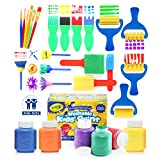 2 color wall paint designs Glokers Early Learning Kids Paint Set, 28 Piece Mini Flower Sponge Paint Brushes. Assorted Painting Drawing Tools in a Clear Durable Storage Pouch. Including 6 Crayola Washable Kids Paint