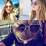 IslandseColor Change Unisex Metal Frame Heart Shape Sunglasses Lolita Love (D)