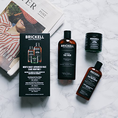 Brickell Men's Daily Advanced Face Care Routine I - Gel Facial Cleanser Wash + Face Scrub + Face Moisturizer Lotion - Natural & Organic