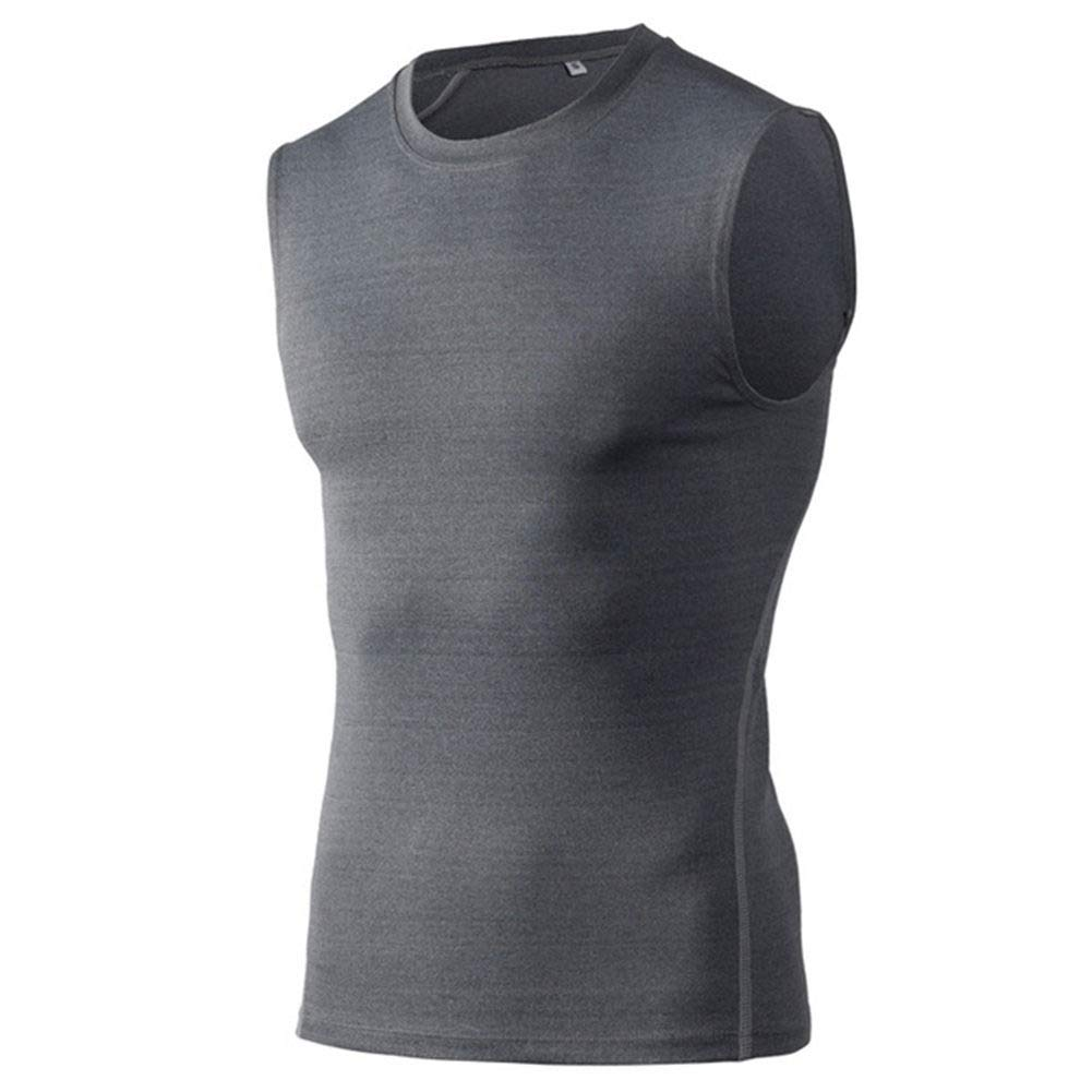 YONEER Men Sports Gym Compression Sleeveless Vest Tank Top Base Layer Elastic Quick-Drying Singlet Shirt