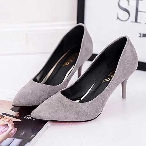 leather women work sweet lady shoes Qiqi satin Xue Gray shoes satin black High heeled shoes tip with painted a fine FxZqwn1A
