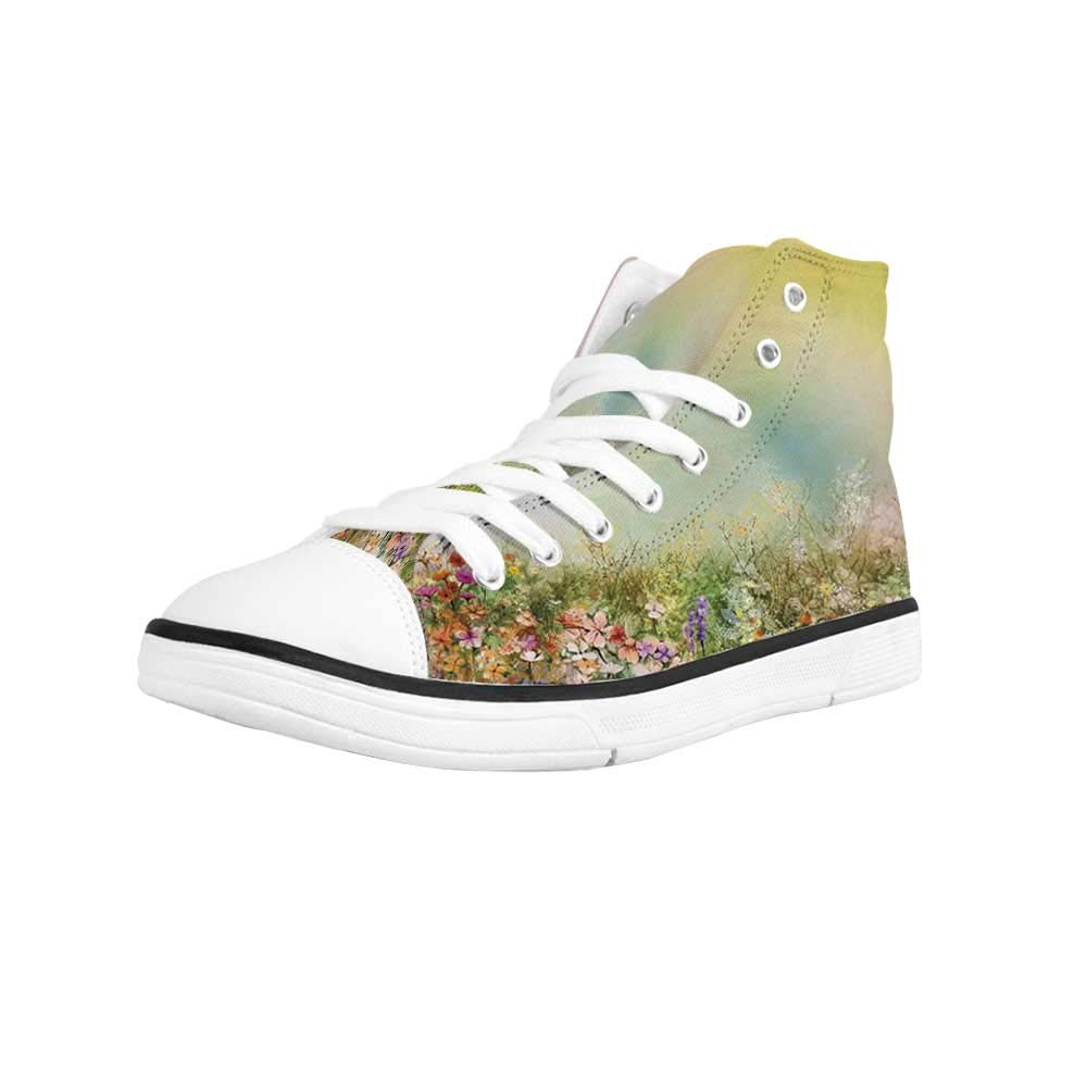 ALUONI Watercolor Flower Home Decor Comfortable High Top Canvas Shoes,Chamomile and Dandelion Field Meadow Landscape Idyllic View for Women Girls,US 5
