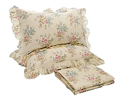 Lotus Karen Pastoral Floral 4PC Sheet Sets 100%Cotton Flower Pattern Bedding Fitted Sheet Sets Includes 1Flat Sheet,1Fitted Sheet,2Ruffles Pillowcases No - Cottage Flower Bedding