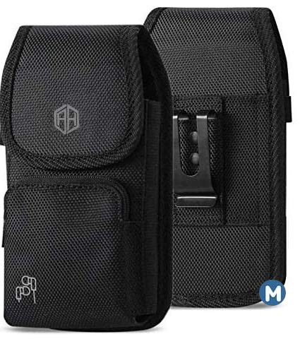 AH Military Grade Cell Phone Clip Holster Rugged Nylon Belt Pouch for Android Moto LG [iPhone 6 6S 7 8 X XR XS 11 12…