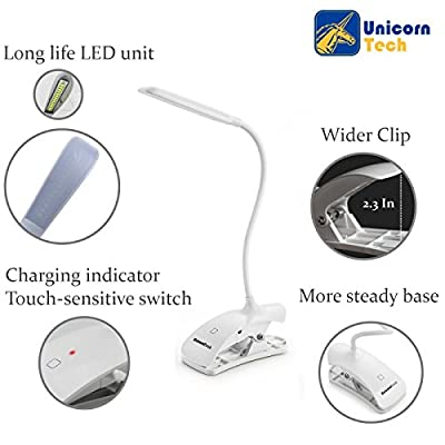 UnicornTech Clip Desk Lamp [2-IN-1 Stand on Own / Clip Everywhere] Gooseneck Tube Touch Sensitive LED USB Rechargeable Dimmable Portable Lightweight Desk Table Reading Study Bedside Light Lamp