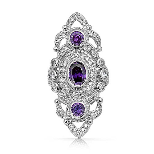 Bling Jewelry Vintage Style Filigree Purple Cubic Zirconia Armor Full Finger Statement Ring Simulated Amethyst CZ Silver Plated Brass