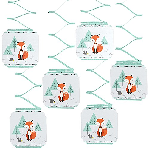 Big Dot of Happiness Mr. Foxy Fox - Baby Shower or Birthday Party Hanging Decorations - 6 Count