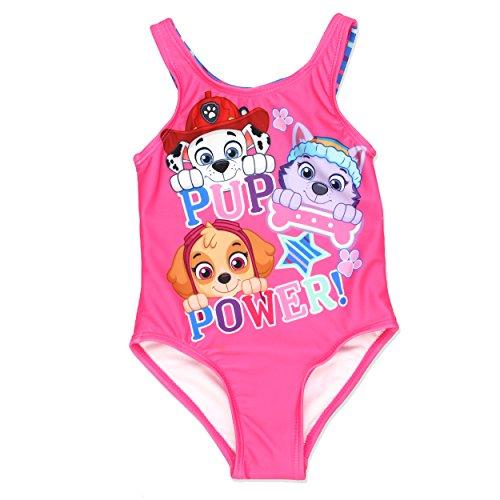 Paw Patrol Girls One Piece Swimsuit Swimwear (4T, Pink)