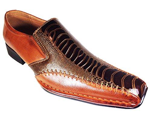 Mens Alligator Shoes (Men Dress Loafers with Aligator Prints Slip on Dress Shoes (Exp08) (9, brown))