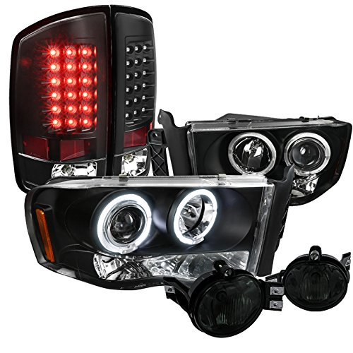 Dodge Ram 1500 2500 3500 Projector Headlight Black LED Tail Lamp+Smoke Fog ()