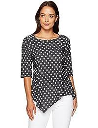 Women's Petite 3/4 Sleeve Hanky Hem Tunic Top