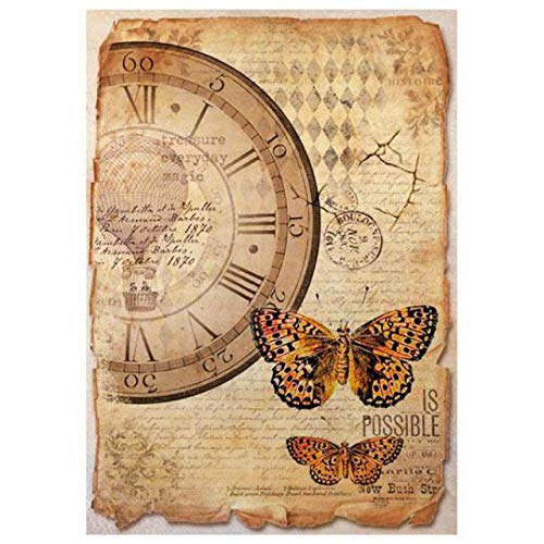 - Stamperia Rice Paper Sheet A4-mixed Media Clock & Butterfly