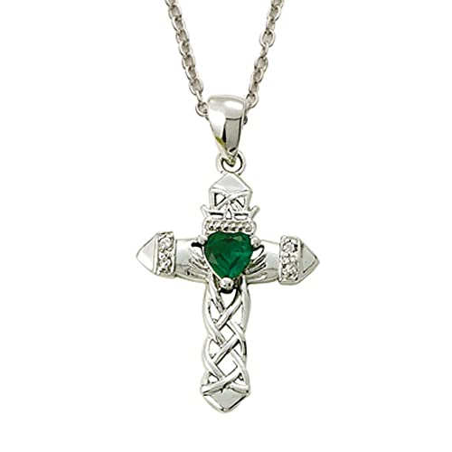 Sterling Silver Claddagh Cross Pendant with Green Accent, 1 Inch