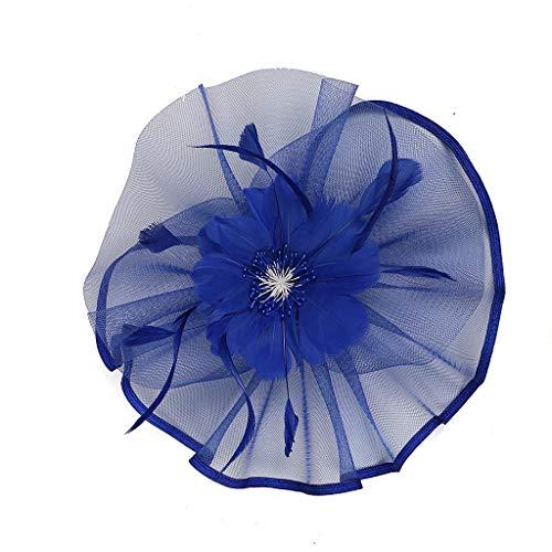 (EnjoCho Fashion Headpiece Women Girls Party Net Yarn Shiny Hair Clip Headband Feathered Flowers Hair Accessories Hairpins (Blue))
