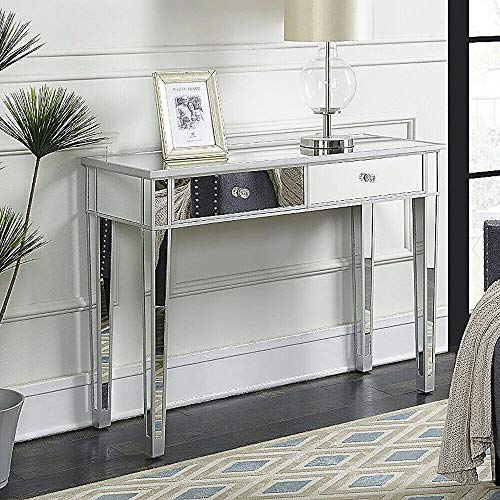 Luxurious Design Furniture Stand Console Mirrored Table 2 Drawer Hall Side, Mirrored Makeup Table, Hallway, Entryway, Home Decor Perfect Any Room (Mirrored Hall Table)