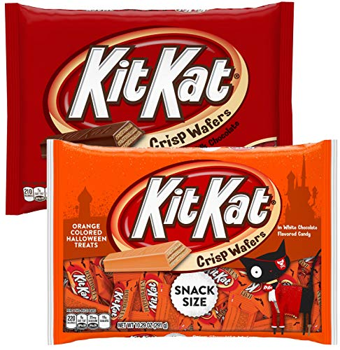 Kit Kat Chocolate Halloween Candy Seasonal Hand Out Packs - Fun Size Trick or Treat Candies For Kids (2 Bags Total) - (Orange and Chocolate)