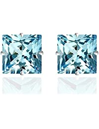 14k Solid Gold 4mm Princess-Cut CZ Stud Earrings by Orchid Jewelry