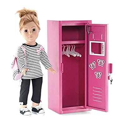 Emily Rose 18 Inch Doll Furniture for American Girl Dolls | Doll Accessories School Locker Closet with Working Lock and Key, 5 Doll Clothes Hangers and Accessories | Fits 18